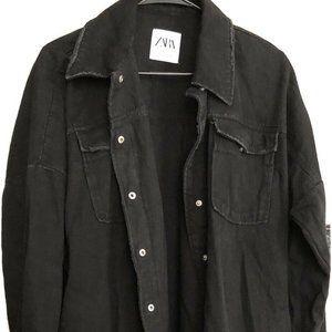 Zara Black Denim Jacket In Medium Women's